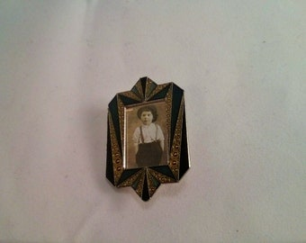 Vintage Collection - Green, Black and Gold Enamel Art Deco Style Small Frame Brooch