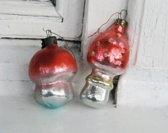 Set of 2 Vintage Soviet Christmas tree decoration, Mushroom Christmas Glass Ornament, Christmas decor, Retro Tree decoration, Made in USSR