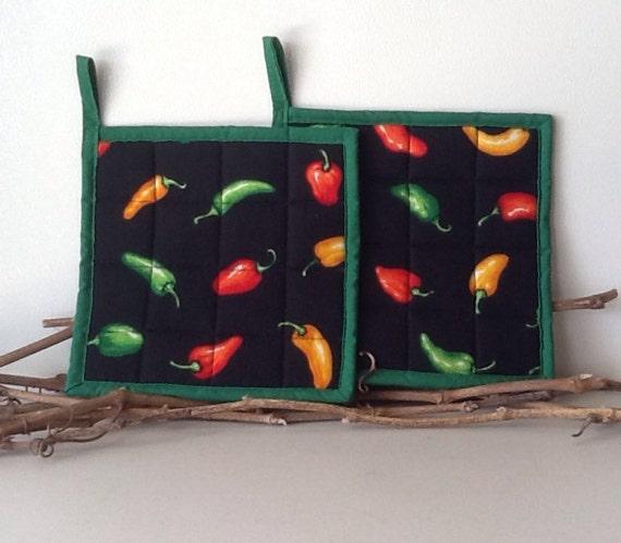 Chili Pepper Kitchen Curtains: Chili Pepper Potholders Southwest Kitchen Decor By