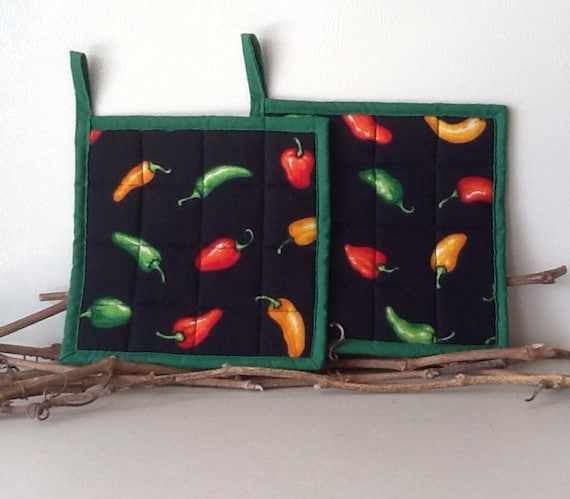 Chili Pepper Potholders Southwest Kitchen Decor By Quillsandtwills