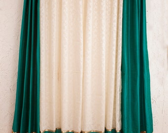 Teal blue silk and white jacarde curtains