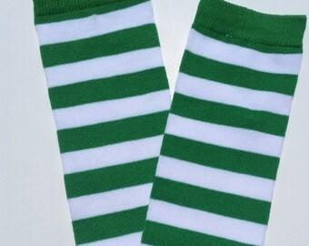 Green and white legwarmers, striped legwarmers, baby girl legwarmers, baby legwarmers, legwarmers baby, baby boy leg warmers, baby legwarmer