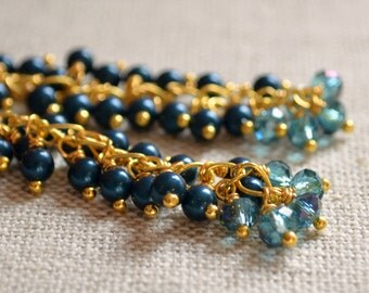 Dark Teal Earrings, Gold Plated, Cluster Earrings, Swarovski Pearl Jewelry, Petrol Blue, Crystal Jewelry, Wire Wrapped