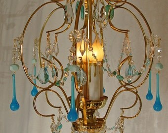"""Chandeliers lighting  ~ Turquoise Robins Egg Blue CRYSTAL CHANDELIER 14"""" X 20"""" BRASS / Gold 4 Lights ~ Home and Living"""