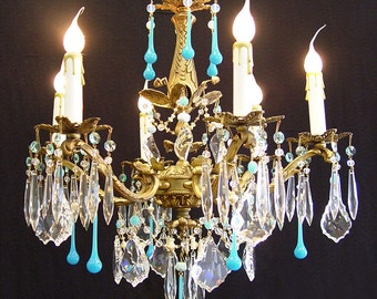 "Chandeliers ~ Vintage 6 Light 18""x 24"" Ornate Bronze CRYSTAL CHANDELIER Turquoise Robins Egg Blue Crystals,  One of a kind ~ Home & Living"