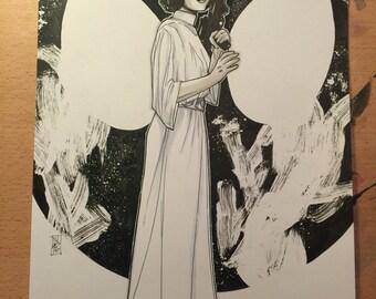 ORIGINAL ART, Princess Leia: Your Worhshipfulness by Tom Hodges