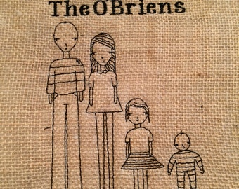 Custom Embroidered Family Portrait up to 5 characters