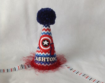 Captain America  Inspired Birthday Party Hat (Free Personalization)
