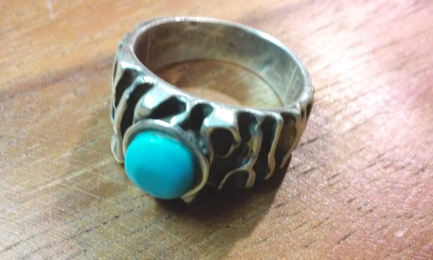 mens sterling silver ring turquoise tiger stripes 9 92g