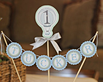 Boy / Hot Air Balloon Cake Topper.  1st Birthday / First Birthday party decor.  Blue/ Mint / Grey.  Fully assembled and customizable.