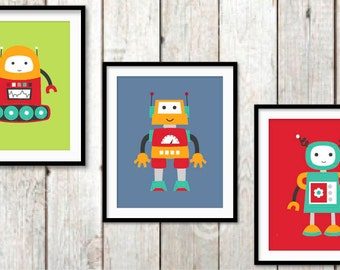 Robot Wall Art, Robot Nursery Print, Baby Boy Nursery, Children's Art, Robot Art, Boys Bedroom Decor, Red Blue Decor, Toddler Bedroom Art