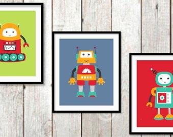 Boy nursery wall art robot wall art quote nursery wall art for Robot baby room decor