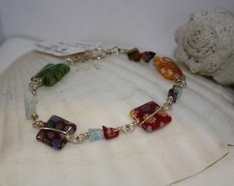 Fine Silver Millifiore Glass Bracelet
