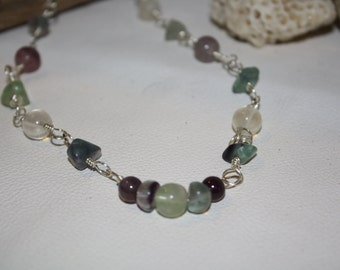 Rainbow Fluorite Wire Wrapped Necklace