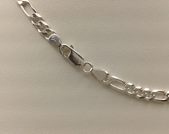 "Figaro chain, sterling silver, 16"" (short)"