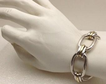 Vintage Large Sterling and 18kt gold bracelet