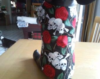 Medium Dog Skull Apparel / Medium Halloween Dog Coat / Medium Dog Pirate Costume/ Black Dog Clothing / Medium Dog Robe / Medium Dog Attire