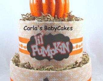 Pumpkin diaper cake | Fall diaper cake | Neutral baby gift | Baby diaper cake | Baby shower gift | Mom to be gift | Baby sprinkle gift