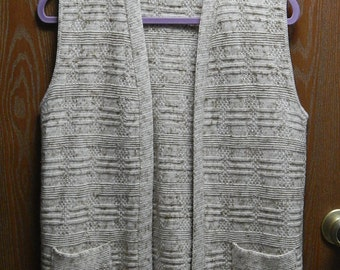 Milrank Womens Vest (38 Bust) Beige + Brown Knit - Made in California - USA