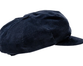 Newsboy Peaked Cap made of Corduroy (cotton) - navy blue