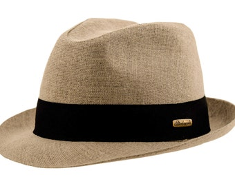 Linen Cloth Summer Trilby Short Brim Hat with removable band - beige / black