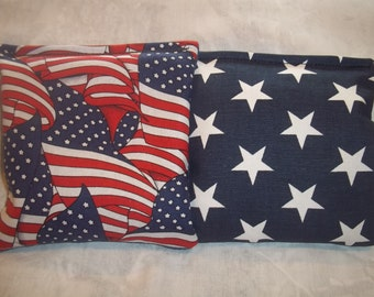8 ACA Regulation Cornhole Bags - 4 Blue and White Stars - 4 Red Blue and White USA Flags