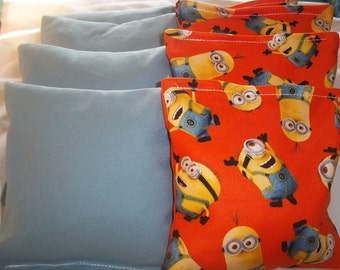 8 ACA Regulation Cornhole Bags -  The Minions and Solid Blue Bags