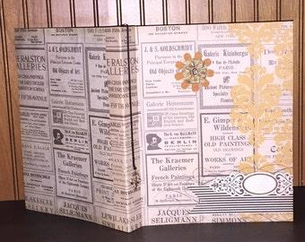 5 year Journal,  Five Year Journal, 5 Year Diary, Vintage  Journal, Vintage Newsprint Journal