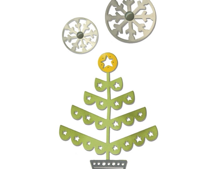 New! Sizzix Thinlits Die Set 3PK - Christmas Tree & Snowflakes by Debi Potter