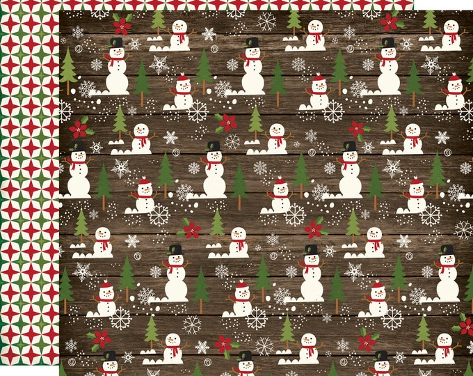 1 Sheet of Echo Park Paper THE STORY of CHRISTMAS 12x12 Scrapbook Paper - Snowman (TSC94009)