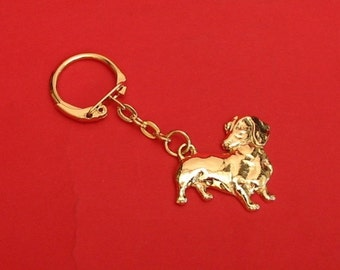 Dachshund Dog Gold Plated Pewter Motif Key-Ring Mother Christmas Gift