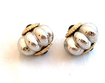 Heavy Silver and Gold Tone Scalloped Clip On Earrings, Mixed Metal Rounded Ridged Black Cabochon Domed Embellished Earrings, Statement