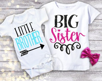 Sibling Shirts, Little Brother Big Sister Shirts, CUSTOMIZE WITH NAME, No Shed Glitter Graphic Tee, Newborn - 6T, Short or Long Sleeve