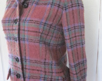 MOLLIE PARNIS Wool Plaid Jacket from the 1960s, Size 6 - 8