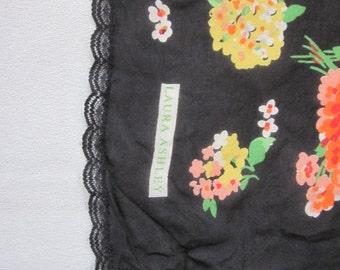 """1980s Floral Print Silk Chiffon Scarf by """"Laura Ashley"""""""