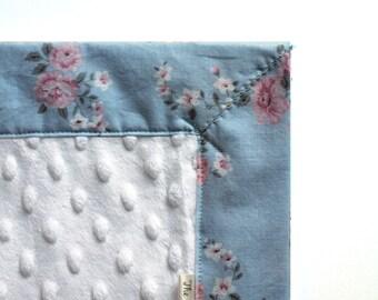 Blue Floral Baby Blanket