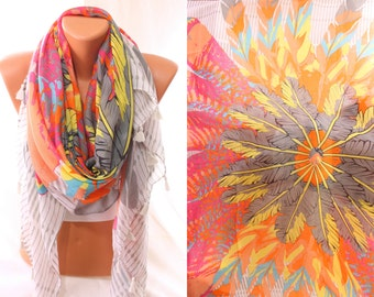 Feather Print So Soft Cotton Scarf Spring Fashion Summer Accessories Women Accessories Holidays Fashion Mother's Day Gift Ideas For Her Mom