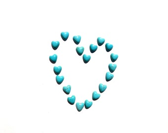faux Turquoise Hearts cabochons set of 20