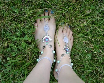 Silver Barefoot Sandals with Turquoise Fuchsia Peace Beads