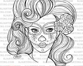 Sugar Skull Day of the Dead Dia De Los Muertos  Digital Stamp  (Line_Art Printable_00034 KJArting)