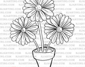 Flower Pot Digital Stamp (Line_Art Printable_00058 KJArting)