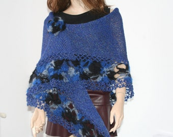 Hand Knitted Crochet Shawl Mohair/Triangle Shawl/ Handmade Shawl Blue