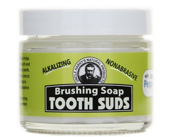 Uncle Harry's Brushing Soap Tooth Suds Peppermint 2 Oz glass jar