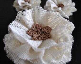 Burlap flower, Jute flower, Burlap flowers, Wedding cake topper, Rustic wedding, Rustic wedding cake decoration, Shabby chic wedding decor