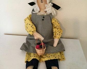 Flower Gatherer Bee Lover Cloth Doll Prim Rag Doll