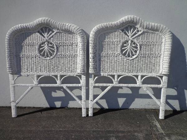 2 Vintage Woven Wicker Rattan Twin Headboards Peacock Sunshine