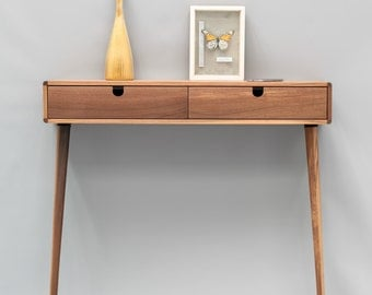 Console Hallway Table Walnut Wood Floating / With 2 Legs