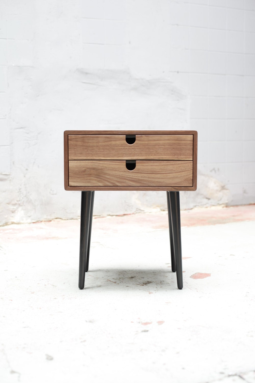 walnut mid century scandinavian bedside table nightstand. Black Bedroom Furniture Sets. Home Design Ideas