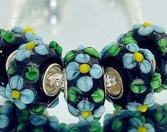 Baby Blue Flower on Black Murano Glass Bead Fits Trollbeads Chamilia Biagi and All European Charm Bracelet