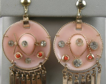 The Cutest Vintage Pink Sombrero Dangle  Earrings You Will Ever See